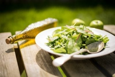 green salad with apples help heal IBS