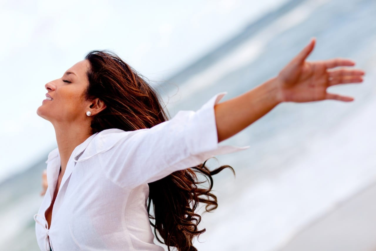 woman getting excited for habit changes