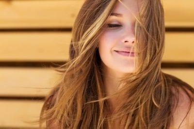 woman with beautiful skin gut health