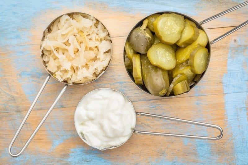 sauerkraut, cucumber pickles and yogurt - popular probiotics