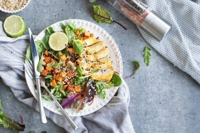 healthy meal with chicken, vegetables, fruits to boost metabolism naturally